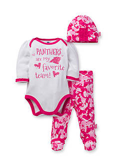 NFL Carolina Panthers Girls 3-Piece Bodysuit, Footed Pant and Cap Set