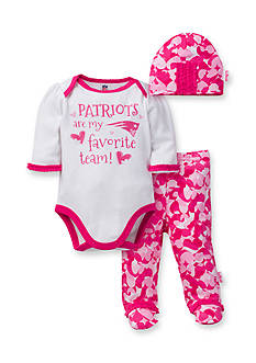 NFL New England Patriots Girls 3-Piece Bodysuit, Footed Pant, and Cap Set