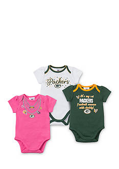 NFL Green Bay Packers Girl's 3-Pack Bodysuit Set