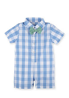 Beetle & Thread™ 2-Piece Gingham Shortall and Stripe Bowtie Set