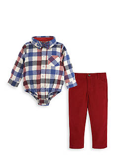 Beetle & Thread™ 3-Piece Corduroy Pants, Plaid Bodysuit, and Bow Tie Set Baby/Infant Boy