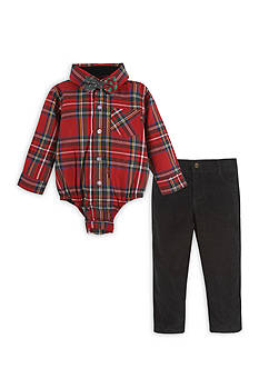 Beetle & Thread™ 3-Piece Corduroy Pants, Plaid Bodysuit, and Bow Tie Set Baby/Infant Boys