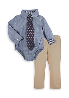 Beetle & Thread™ 3-Piece Chambray Bodysuit, Tie, and Pant Set
