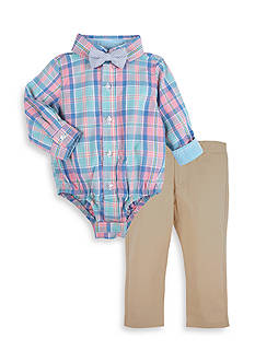 Beetle & Thread™ 3-Piece Plaid Bodysuit, Bow Tie, and Pant Set