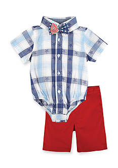 Beetle & Thread™ 3-Piece Americana Bodysuit, Bow Tie, and Short Set