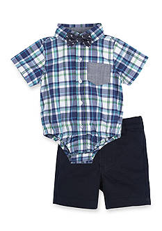 Beetle & Thread™ 3-Piece Plaid Bodysuit, Bow Tie, and Short Set