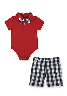 Beetle & Thread™ 3-Piece Polo Bodysuit, Bow Tie and Short Set