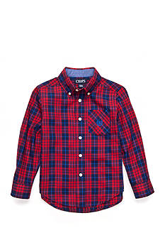Chaps Long Sleeve Plaid Button Down Toddler Boys
