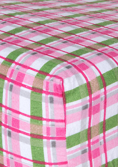 Trend Lab® Pink Plaid Flannel Fitted Crib Sheet