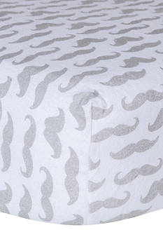 Trend Lab Mustaches Flannel Fitted Crib Sheet - Online Only