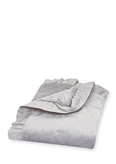 Trend Lab® Dove Gray Receiving Blanket with Ruffle Stripe Trimmed