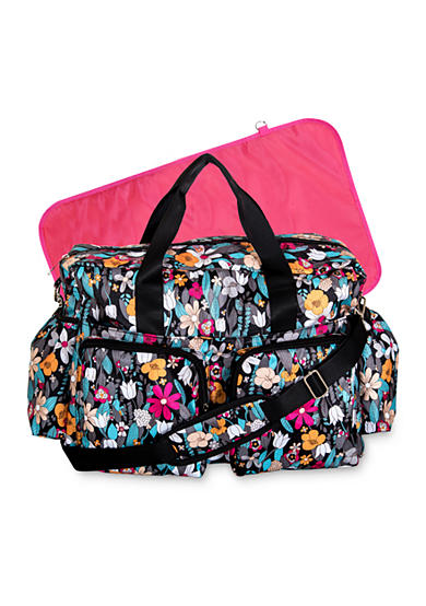 Trend Lab® Turquoise Floral Deluxe Duffle Diaper Bag