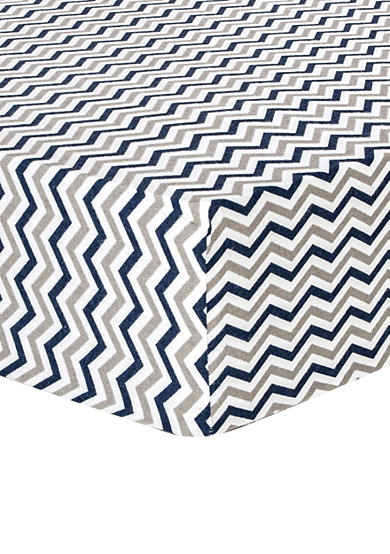 Trend Lab® Navy and Gray Chevron Deluxe Flannel Fitted Crib Sheet