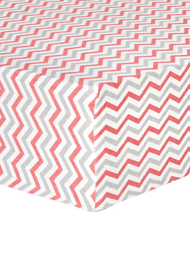 Trend Lab® Coral and Gray Chevron Deluxe Flannel Fitted Crib Sheet