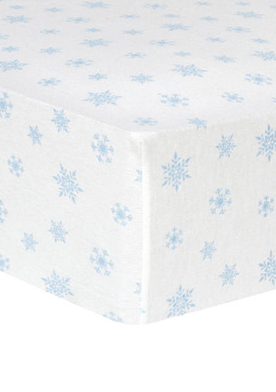 Trend Lab® Blue Snowflakes Deluxe Flannel Fitted Crib Sheet