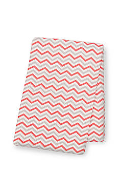 Trend Lab Coral and Gray Deluxe Flannel Swaddle Blanket