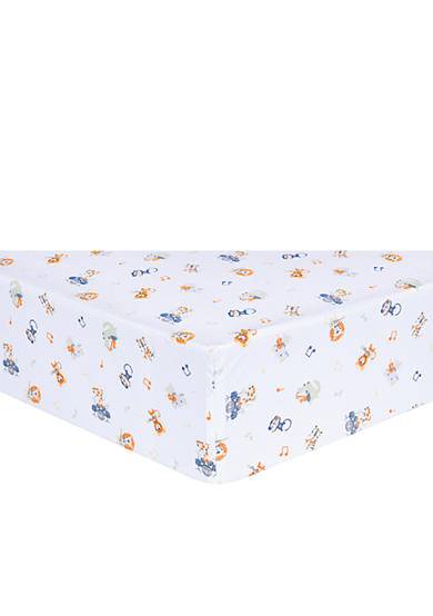 Trend Lab® Safari Rock Band Multicolored Animal Fitted Crib Sheet