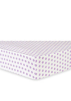 Trend Lab Lilac Flower Dot Flannel Fitted Crib Sheet