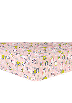 Trend Lab Snow Pals Pink Flannel Fitted Crib Sheet
