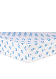 Trend Lab Blue Elephants Flannel Fitted Crib Sheet