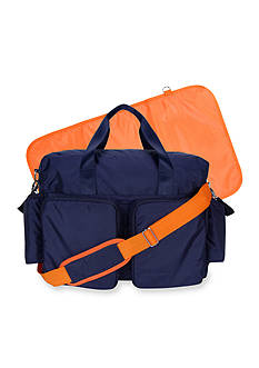 Trend Lab Navy And Orange Deluxe Duffle Diaper Bag