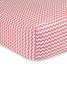 Trend Lab Cocoa Coral Pink and White Chevron Fitted Crib Sheet - Online Only