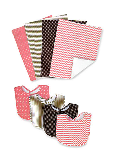 Trend Lab® Cocoa Coral 4 Pack Bib and 4 Pack Burp Cloth Bouquet Set - Online Only