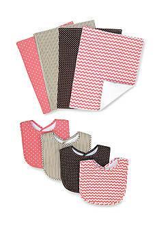 Trend Lab Cocoa Coral 4 Pack Bib and 4 Pack Burp Cloth Bouquet Set - Online Only