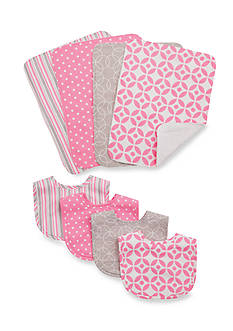 Trend Lab Lily 4 Pack Bib and 4 Pack Burp Cloth Bouquet Set