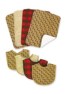 Trend Lab Northwoods 4 Pack Bib and 4 Pack Burp Cloth Set