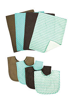 Trend Lab Cocoa Mint 4 Pack Bib and 4 Pack Burp Cloth Bouquet Set