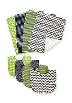 Trend Lab Perfectly Preppy 4 Pack Bib and 4 Pack Burp Cloth Set