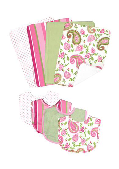 Trend Lab® Paisley Park 4 Pack Bib and 4 Pack Burp Cloth Bouquet Set - Online Only