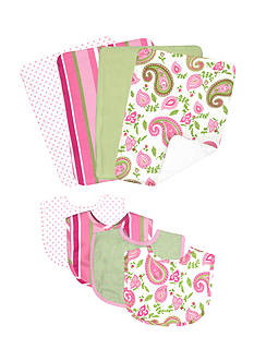 Trend Lab Paisley Park 4 Pack Bib and 4 Pack Burp Cloth Bouquet Set - Online Only