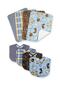 Trend Lab® Cowboy Baby 4 Pack Bib and 4 Pack Burp Cloth Bouquet Set