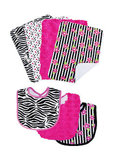 Trend Lab Zahara 3 Pack Bib and 4 Pack Burp Cloth Bouquet Set - Online Only