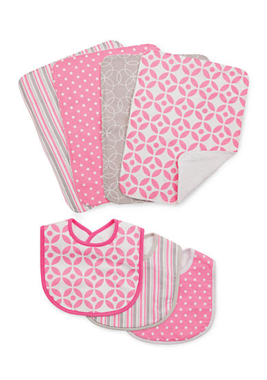 Trend Lab® Lily 3 Pack Bib and 4 Pack Burp Cloth Set