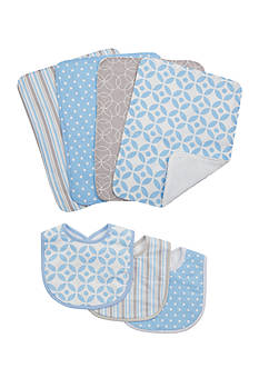 Trend Lab Logan 3 Pack Bib and 4 Pack Burp Cloth Set