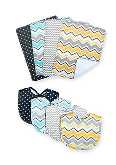 Trend Lab® Zigzag Bouquet Bib and Burp Cloth Set