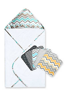 Trend Lab® Seashore Waves Zigzag Bouquet Hooded Towel and Wash Cloth Set