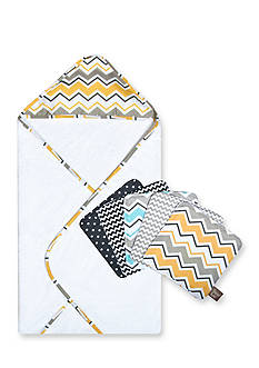 Trend Lab® Buttercup Zigzag Bouquet Hooded Towel and Wash Cloth Set
