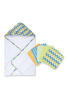 Trend Lab Levi Hooded Towel and 5 Pack Wash Cloth Set
