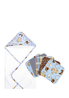 Trend Lab Cowboy Baby Hooded Towel and 5 Pack Wash Cloth Set
