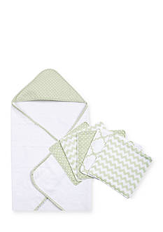 Trend Lab® Sea Foam Six-Piece Dot Hooded Towel and Wash Cloth Set