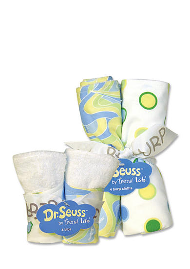 Trend Lab® Dr. Seuss™ Oh, The Places You'll Go! Blue 4 Pack Bib and 4 Pack Burp Cloth Set