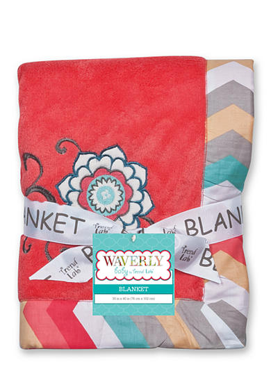 Trend Lab® Waverly® Pom Pom Play Embroidered Coral Fleece Baby Blanket