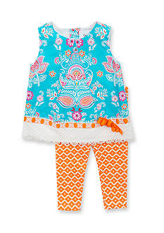 Counting Daisies by Rare Editions 2-Piece Lace Paisley Tunic and Geo Print Legging Set Toddler Girls