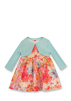Rare Editions 2-Piece Printed Lace Dress with Cardigan Toddler Girls