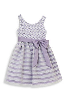 Rare Editions Stripe and Floral Dress Toddler Girls