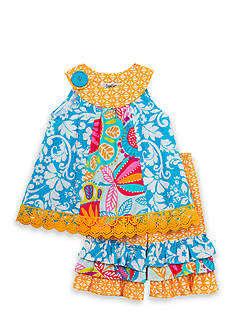 Rare Editions 2-Piece Mixed Media Top And Ruffled Capri Set Toddler Girls